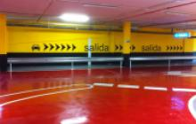 Señalización vial en Madrid - rotulaciones parking Gran Plaza 2- Pinturas Cobalto